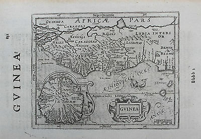 Mercator Map of West Africa showing Guinea from Historia Mundi, 1635.