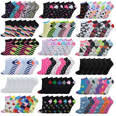 6 Pairs Ladies Trainer Socks Womens Funky Designs Girls Liner Sports Adults 4-7
