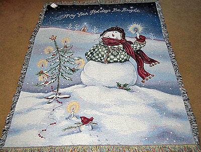 Flake ~ Snowman ~ May Your Holidays Be Bright ~ Christmas Tapestry Afghan Throw