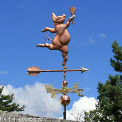 Fancy Copper Party Pig Weathervane W/ Brass Directional Made In  Usa 352