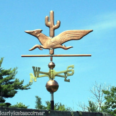 Copper Roadrunner W/cactus Weathervane W/ Brass Directional Made In  Usa 349