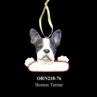 """Boston Terrier Christmas Ornament """"Santa's Pals"""" Personalized Name Plate #76"""