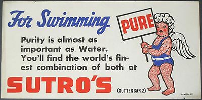 "1930s SUTRO BATHS~ANGEL w/PURE WATER SIGN~RARE 8"" x 16"" ANTIQUE STREETCAR POSTER"