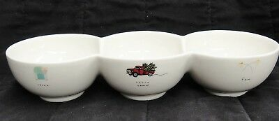 """Dale & Thomas Popcorn Attached Triple Bowl """"Relax Share Some Fun"""" Ceramic"""