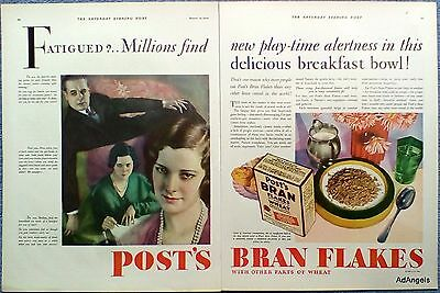 1930 Post Bran Flakes Fatigued Family Picture Find New Play Time Alertness ad