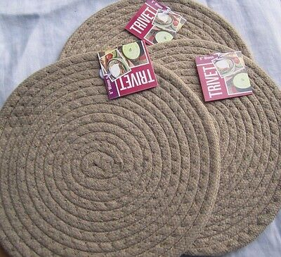 "NEW 3 TRIVET 9"" Woven NWT Discovery extra thick pot holder Insulated pad khaki"