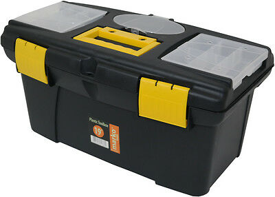 """19"""" Plastic Tool Box Lockable Storage Carry Case Sturdy Strong Handle Tray DIY"""