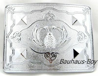 Scottish Open Leaf Thistle Kilt Buckle Chrome Finish Highland Kiltwear For Kilts