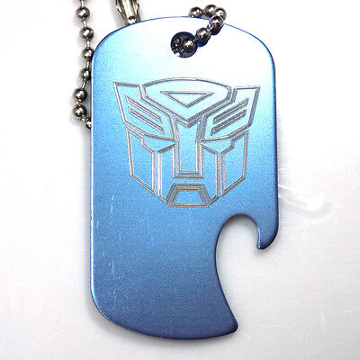 "Autobot Baby Blue Key Chain  4"" Chain Dog Tag Aluminum Bottle Opener EDG-0319"