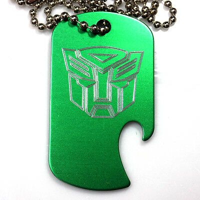 "Autobot Green Pendant With 30"" Chain Dog Tag Aluminum Bottle Opener EDG-0322"