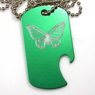 "Butterfly Green Pendant With 30"" Chain Dog Tag Aluminum Bottle Opener EDG-0306"