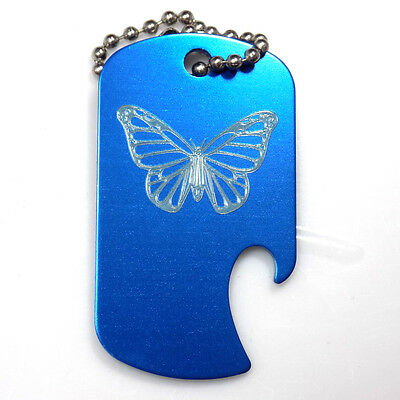 "Butterfly Blue Key Chain With 4"" Chain Dog Tag Aluminum Bottle Opener EDG-0301"