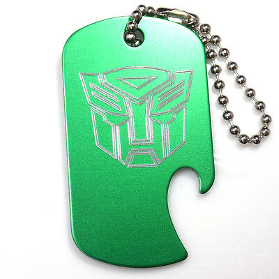"Autobot Green Key Chain With 4"" Chain Dog Tag Aluminum Bottle Opener EDG-0321"