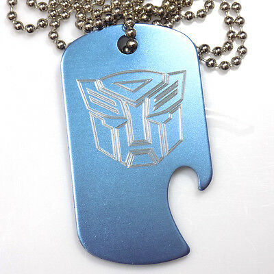 "Autobot Baby Blue Pendant With 30"" Chain Dog Tag Aluminum Bottle Opener EDG-0320"