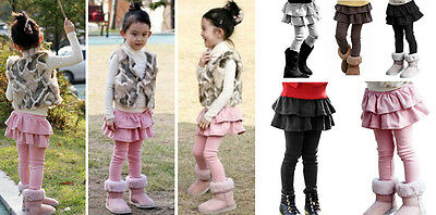 Girls Winter Warm Footless Cropped Double Layers Legging Cotton Tiered Leggings