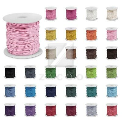 80M Waxed Cotton Cord Beading Thread Jewellery Necklace String 1/1.5/2mm Various