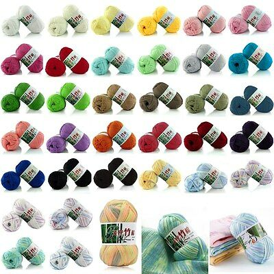 Creative Soft 100% Bamboo Cotton Knitting Crochet Wool Yarn 50G Balls 37 Colors