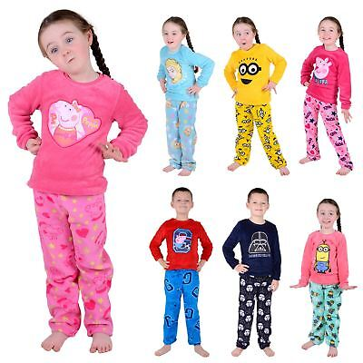 Childrens Girls Boys Fleece Pyjama PJ Set - Minion Frozen Star Wars Peppa Pig