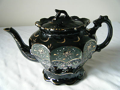 Victorian Jackman Teapot Black Hand Decorated