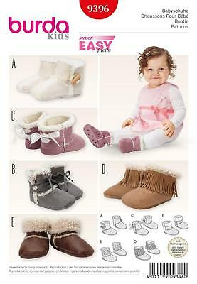 Burda Sewing Pattern Super Easy Kids Baby Booties  9396