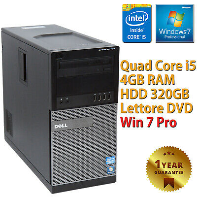 PC COMPUTER DESKTOP RICONDIZIONATO DELL790 QUAD CORE i5-2400 4GB 320GB WINDOWS 7