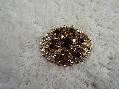 Goldtone Clear & Black Rhinestone Pin (A36)