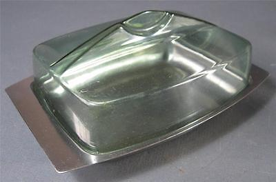 Retro/vintage 60s-70s stainless steel/green plastic butter dish eames-era