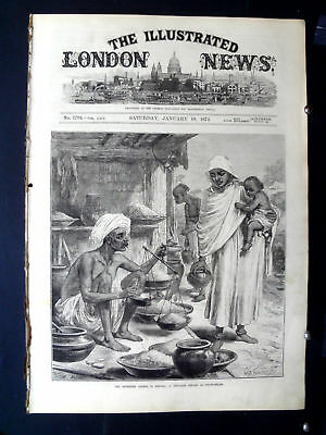 1874-ILLUSTRATED LONDON NEWS-famine bengal india beniah,rickshaw nagasaki japan
