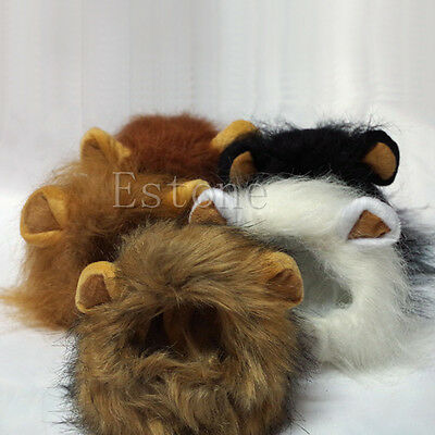 New Pet Costume Lion Mane Wig For Dog Cat Halloween Clothes Fancy Dress Up Ears