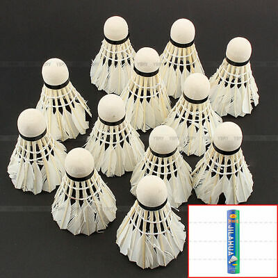 New 12 Pcs White Goose Feather Badminton Ball Shuttlecocks Sport Training Game
