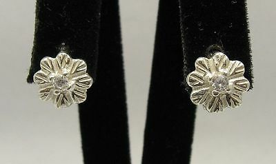 Small Sterling Silver Earrings Solid 925 Flower With Cubic Zirconia