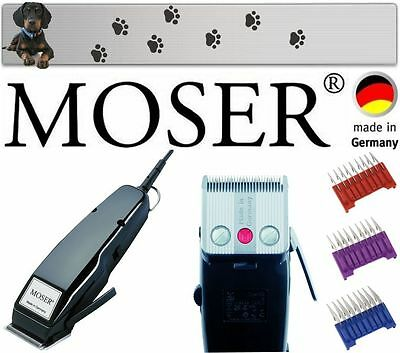 Moser Profi Tier Hunde Schermaschine Made In Germany + Edelstahlkämme 3,6,10Mm