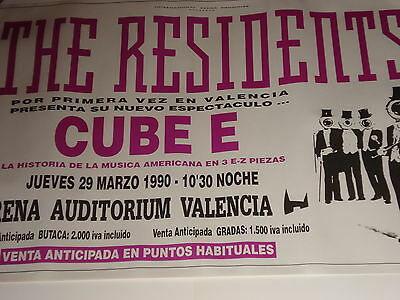THE RESIDENTS Live in Valencia 29 March 1990 Rare GENUINE Concert Poster MINT!!!