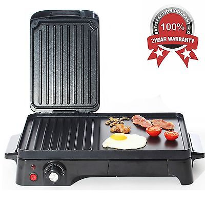 2in1 Nonstick Griddle & Press Grill Healthy Portable Camping BBQ Cooker in Black