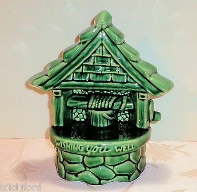 Vintage Wishing You Well USA Pottery Planter #200 Green Ceramic Flower Holder