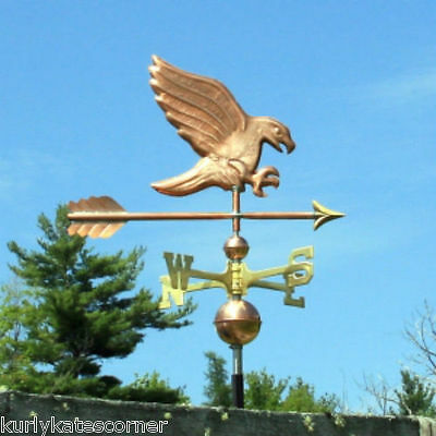 Fancy Copper Eagle Weathervane W/ Brass Directional Made In  Usa #347