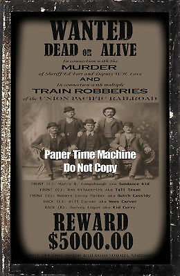 Butch Cassidy Sundance Kid Wanted Dead or Alive Reward