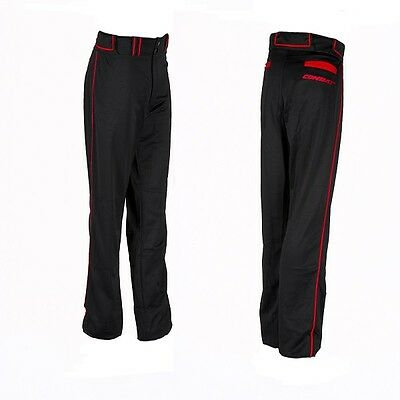 1Pr Combat Adult X-Large Black / Red Loose Fit Piped Pants Baseball & Softball