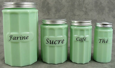Jadeite Green Glass 4 Pc French Canister Set ~ Farine Sucre Café Thé ~