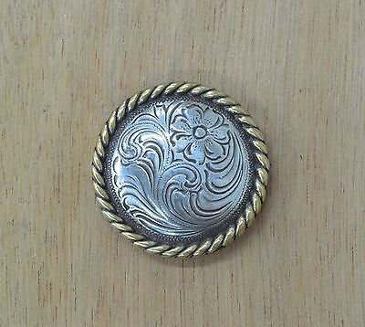 """Antique Western Antique Silver gold Rope Edge Solid Concho 1 1/2"""""""