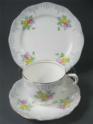 Shabby vintage trio Royal Standard 'Rosalie' English bone china floral pattern