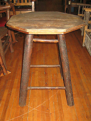 Vintage Old Hickory & Oak Small Octagonal Side Table Cabin Ranch Porch Furniture