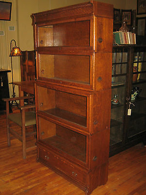 1900 Oak Rockwell Wabash Expansion Bookcase Barrister Stack 4 Section Drawer