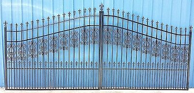 Custom Built Driveway Entry Gate 13 Foot Wide Dual Swing Commercial  Residential