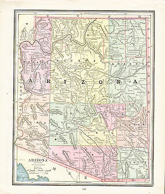 1890 Color Maps of the UTAH and ARIZONA TERRITORIES - Two Maps on one page