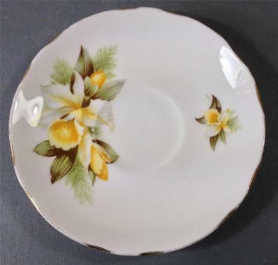 Shabby vintage Duchess English bone china saucer 'Orchid'  413