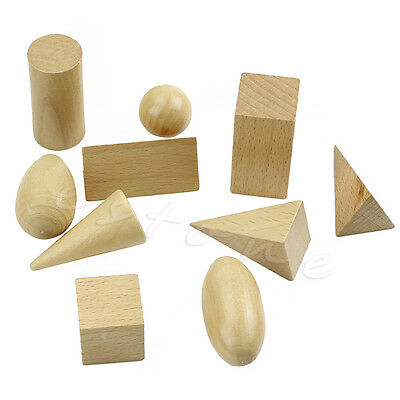 10Pcs/Set New Wooden Geometric Shapes Solids Blocks Of Learning Cognitive Toys