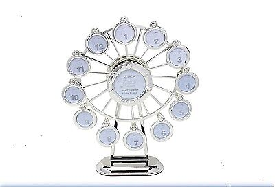 Silver Plated Musical Revolving  Ferris Wheel Photo Frame Plays Rock a Bye Baby