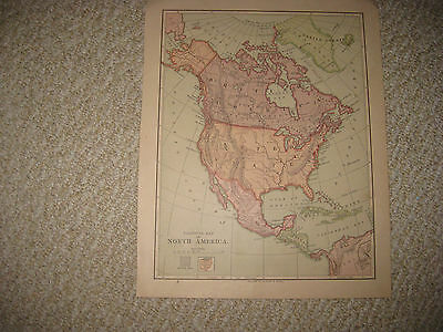 Antique 1875 North America United States British Canada West Indies Map Texas Nr