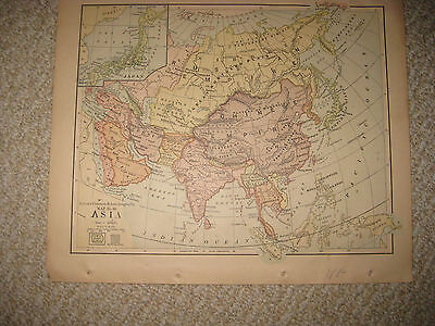 Antique 1852 Asia Handcolor Map Palestine Arabia India China Japan Korea Persia